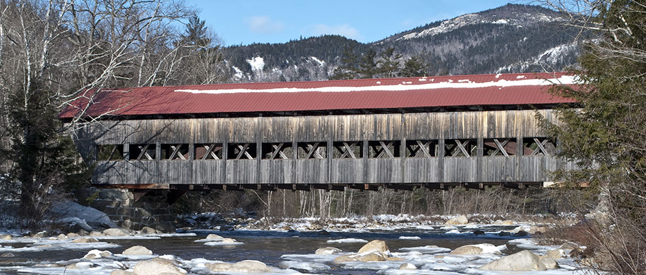 New Hampshire covered bridge in winter