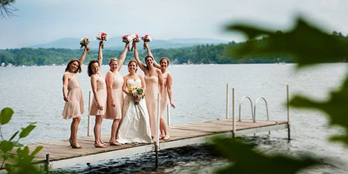 Bridesmaids on the Dock 500x250 - Anchorage at the Lake - Tilton, NH