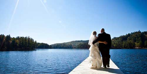Wedding on Dock Purity Spring Resort Madison New Hampshire