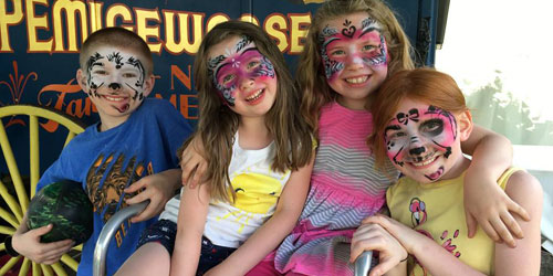 Face Painted Kids 500x250 - Clark's Trading Post - Lincoln, NH