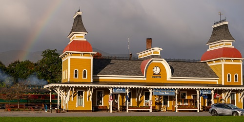 Station at Norcross Circle 500x250 - Conway Scenic Railroad - North Conway, NH