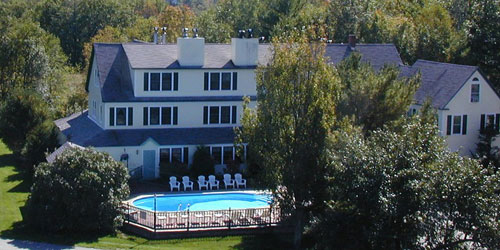 Aerial View with Pool - Inn at Ellis River - Jackson, NH