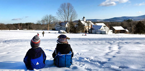 kids at Prescott Farm in winter Laconia NH