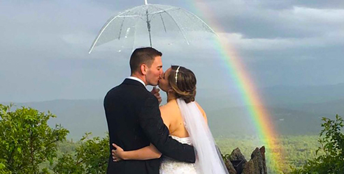 Wedding Couple Rainbow - Castle in the Clouds - Moultonborough, NH