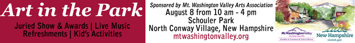 Art in the Park - August 8th, 2015 from 10am-4pm, Schouler Park in North Conway Village, NH. Sponsored by the Mt. Washington Valley Chamber of Commerce.