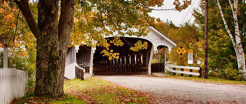 Fall at Stark Covered Bridge