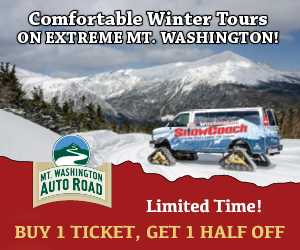 Comfortable Winter Tours on Extreme Mt. Washington - Ride the Auto Road Snowcoach!  2-1 Tickets available now!